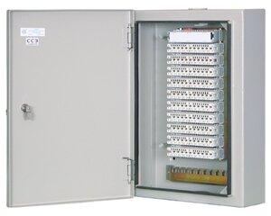 ШРН-2/100 в комплекте с размыкаемыми плинтами | Шкаф распределительный настенный металлический с замком для 100 пар, в комплекте с размыкаемыми плинтами