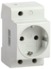 РАр10-3-ОП белая (MRD10-16) | Розетка с заземлением на DIN-рейку