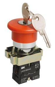 Кнопка LAY5-BS142 Грибок с ключом D22мм (BBG50-LAY5-K04) | Кнопка