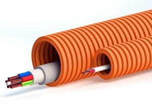 Труба ПНД тяжёлая безгалогенная (HF), оранжевая, с зондом D=25 (PR.022541о) | Гофрошланг