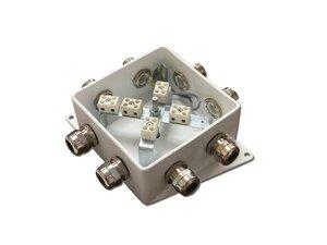 КМ-О (10к)-IP66-120х120, пять вводов   Коробка монтажная огнестойкая