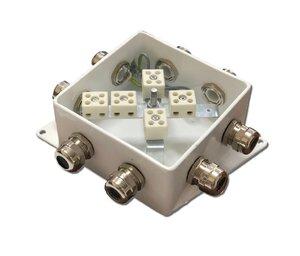 КМ-О (10к*6,0)-IP66-120х120, семь вводов   Коробка монтажная огнестойкая