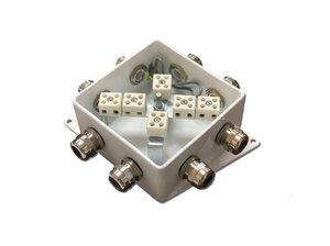 КМ-О (12к*6,0)-IP66-120х120, семь вводов   Коробка монтажная огнестойкая