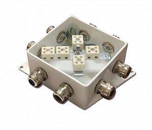 КМ-О (10к*10,0)-IP66-120х120, шесть вводов | Коробка монтажная огнестойкая