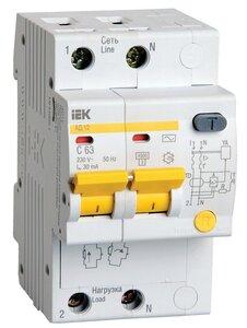АД12 2Р 63А 30мА (MAD10-2-063-C-030)   Автоматический выключатель дифференциального тока