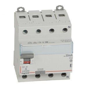 ВДТ DX3 4П 25А AC 30мА N справа (411702)   Выключатель дифференциального тока