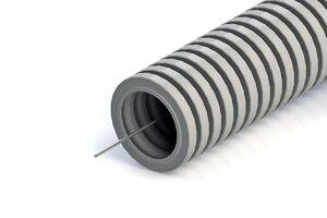 Труба ПНД лёгкая безгалогенная (HF) серая с зондом D=16 (PR02.0129) | Гофрошланг