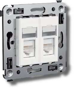 Розетка телефонная в стену Avanti двойная белое облако (4400314) | Розетка