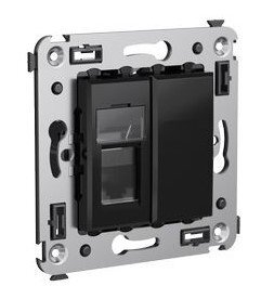 Розетка телефонная в стену Avanti одинарная черный квадрат (4402313) | Розетка