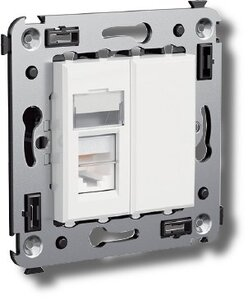 Розетка телефонная в стену Avanti одинарная белое облако (4400313) | Розетка