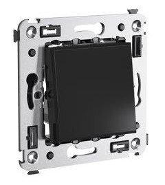Переключатель одноклавишный в стену Avanti черный квадрат (4402113) | Переключатель