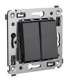 Переключатель двухклавишный в стену Avanti черный квадрат (4402114)   Переключатель