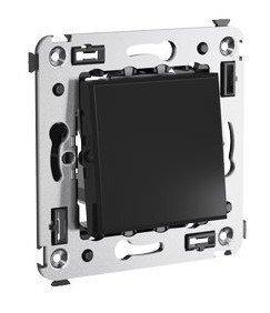 Выключатель одноклавишный в стену Avanti черный квадрат (4402103) | Выключатель