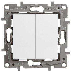 Выключатель двухклавишный 10AX-250В ETIKA, белый (672202) | Выключатель