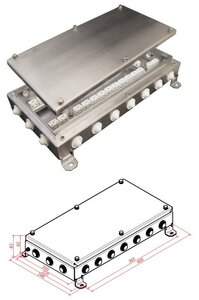 КМ-О (64к)-IP54-2040, 20 вводов, нержавейка | Коробка монтажная огнестойкая