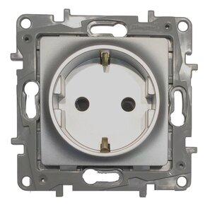Розетка 2К+З немецкий стандарт ETIKA, алюминий (672421) | Розетка