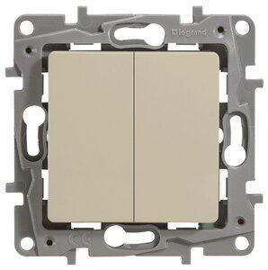 Выключатель двухклавишный 10AX-250В ETIKA, слоновая кость (672302) | Выключатель