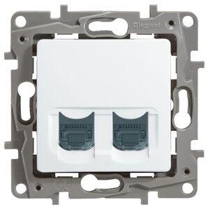 Розетка 5e, UTP, 2хRJ45, 2 модуля ETIKA, белая (672255) | Розетка