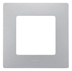 Рамка 1 пост ETIKA, алюминий (672551) | Рамка